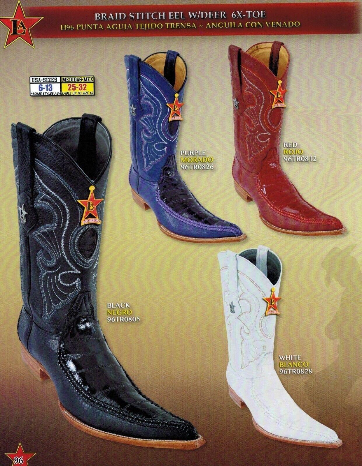 Los Altos para hombre 6X-Toe genuino botas de vaquero occidental Anguila con ciervos diff. Colors