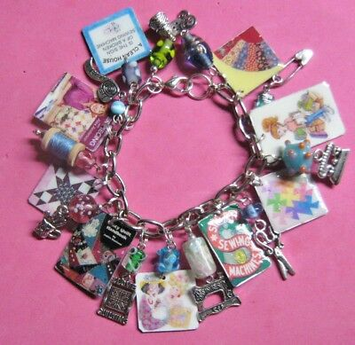 I Love Quilting- Altered Art Charm Bracelet-Handmade-OOAK