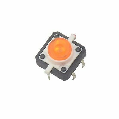 5PCS Yellow LED Tactile Button Push Switch Momentary Tact With LED  Round Cap