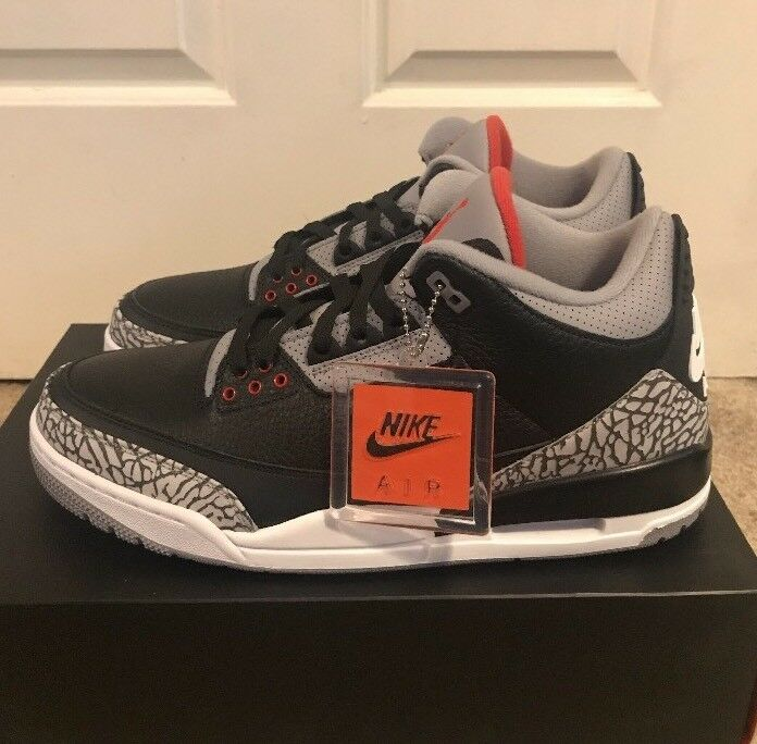 NIKE AIR JORDAN 3 NEW Negro CEMENT 2018 11US NEW 3 WITH OG BOX f35332