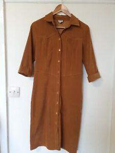 Vintage-Etam-Mostaza-Camisa-Vestido-Talla-10-Midi-Botones