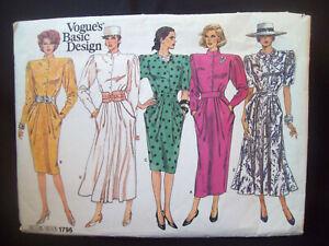 Vintage-Vogue-Pattern-1796-Straight-or-Flared-Dress-Size-12-Uncut-FF-1980s-NOS