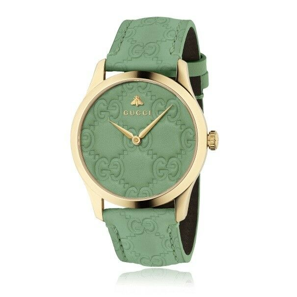 40b9025fa56 New Gucci G-Timeless Green Dial Leather Strap 38mm Unisex Watch YA1264099