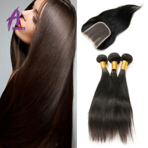 Brazilian-Straight-Weave-3-Bundles-With-Lace-Closure-Remy-Human-Hair-Extensions
