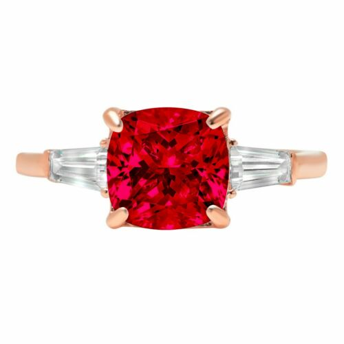 Details about  /3.50 ct Cushion 3 stone Ruby Stone Promise Bridal Wedding Ring 14k Rose Gold