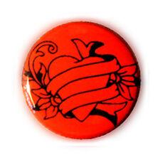 Badge COEUR TATTOO N/ Rouge Heart rockabilly rock punk goth biker button - Ø25mm