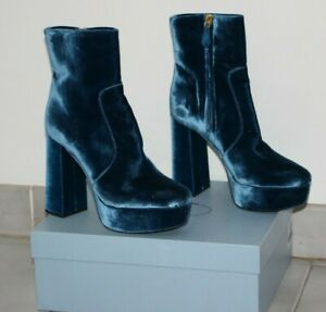 b2895c7e388a PRADA VELVET PLATEAU BLOCK HEEL ANKLE BOOTS Cobalt Blue sz US 6  EU ...