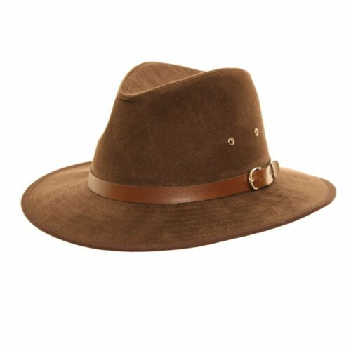 Unisex Brown Faux Suede Fedora Trilby  Hat with Wide Brim and Belt Band