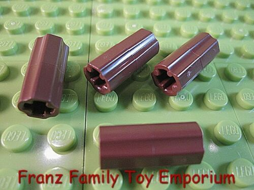 New LEGO Lot of 4 Technic Axle CONNECTOR 2L Smooth Reddish Brown Part 6538c