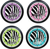 Personalized Purple & Black Peace Zebra Girls Room Decor Wall Clock