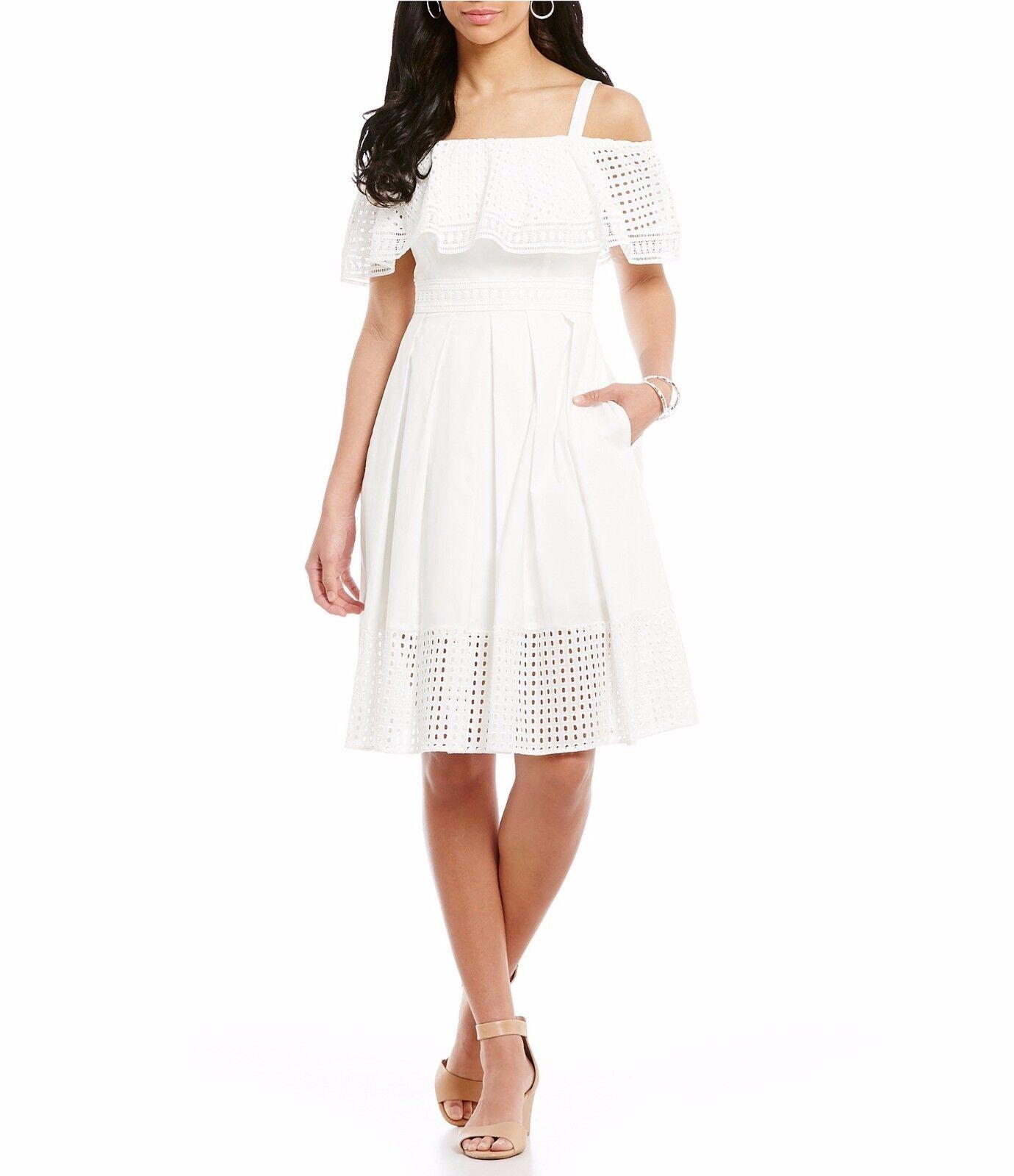 NWT MSRP  148 -  ELIZA J  Eyelet Ruffle Fit & Flare Dress, White, Size 6