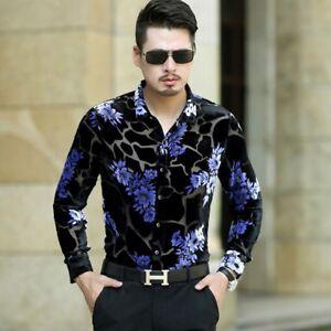 Domple Men Long Sleeve Clubwear Button Up Floral Print Lapel Stylish Paisley Shirt