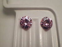 Cubic Zirconia Pink 8mm Round Brilliant 2 Piece Lot Signity Cz