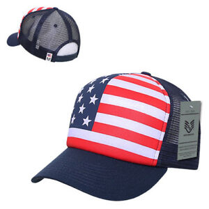 940565a0a Details about Patriotic American USA Flag Full Print Classic Foam Mesh  Trucker Caps Hats