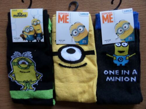 value pack novelty despicable me minion character socks pack of 3 size 6-11