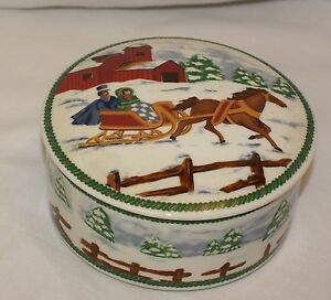 Mikasa-Country-Sleigh-Trinket-Box-Candy-Dish-with-Lid-5-in-Round-x-2-in-high