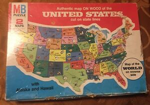 Details about United States World 2-sided Map Puzzle state shaped pieces  1975 MB FREE SH