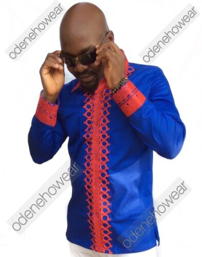 African Clothing Odeneho Wear Men/'s Blue Polished Cotton Top//Red Embroidery