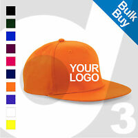 Personalised Embroidered / Printed Rapper Snapback Baseball Cap Text/Logo Lot