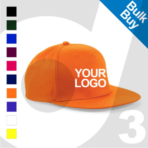 Printed Rapper Snapback Baseball Cap Text//Logo Lot Personalised Embroidered