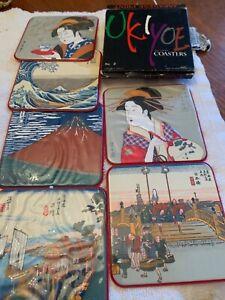Ukiyoe-Coasters-Japanese-Fine-Art-Set-of-6-Made-In-Japan-In-Box
