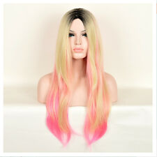 New Women's Blonde Pink Ombre Wig Classic Long Natural Straight Hair Full Wigs