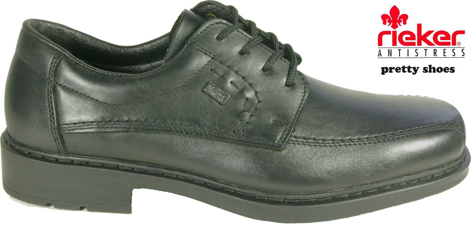 RIEKER Schuhe Halbschuhe Schnürschuhe klassisch schwarz echt Leder TEX Klima NEU