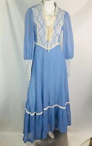Gunne-sax-Jessica-McClintock-Vintage-Prairie-Dress-size-7-blue-white-lace-80-039-s