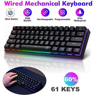 Details about  61 Key Gaming Mechanical Keyboard USB Wired RGB Backlit Gamer PC Laptop Keyboard