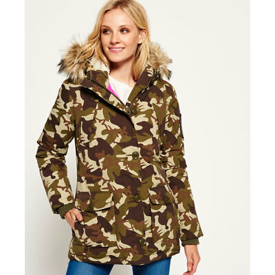 New Womens Superdry Everest Parka Jacket Camo