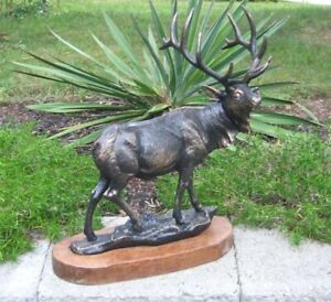 Elk Statue 18.5 Tall- Cast Iron Brushed Antique Gold Finish - Rustic Wooden Base