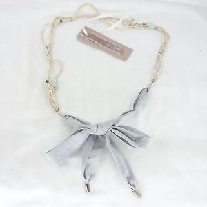 ZUCCHERO-Collar-Pendiente-Colgante-Beige-Gris-Lazo-Perlas-Decorativas-NP-75