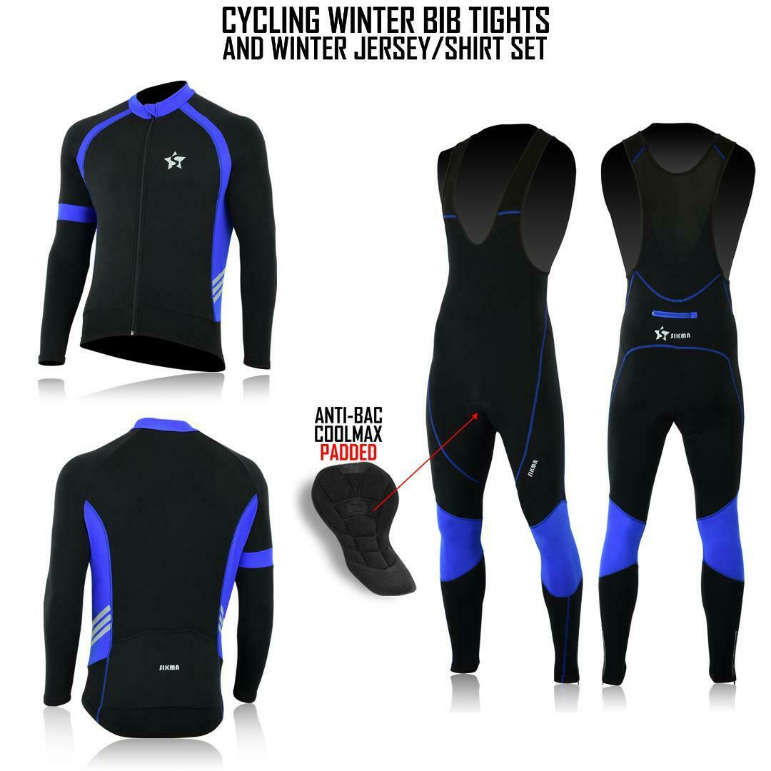 Men's  Cycling Bib Tights Super Roubaix Thermal Bicycling Jersey+Tights Set  take up to 70% off
