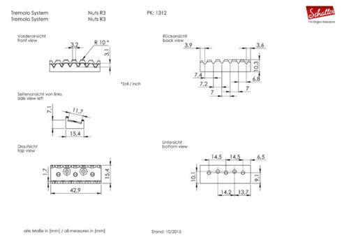 "Genuine Schaller Germany Floyd Rose R3 1-11//16/"" Locking Nut Chrome"