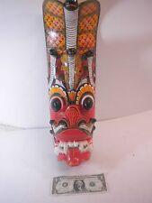 """Sri Lankan Raksha ( demon ) Mask Wooden Colorful Mask - Cobra Snakes 18"""""""