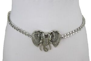 Women Belt Silver Metal Chain Links Big African Elephant Head Buckle Size XS S M