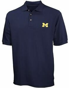 Michigan wolverines ncaa mens navy blue cotton polo shirt for Mens shirts tall sizes