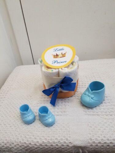 Boy 3 Tier Blue /& Gold Little Prince Diaper Cake Baby Shower Gift Centerpiece