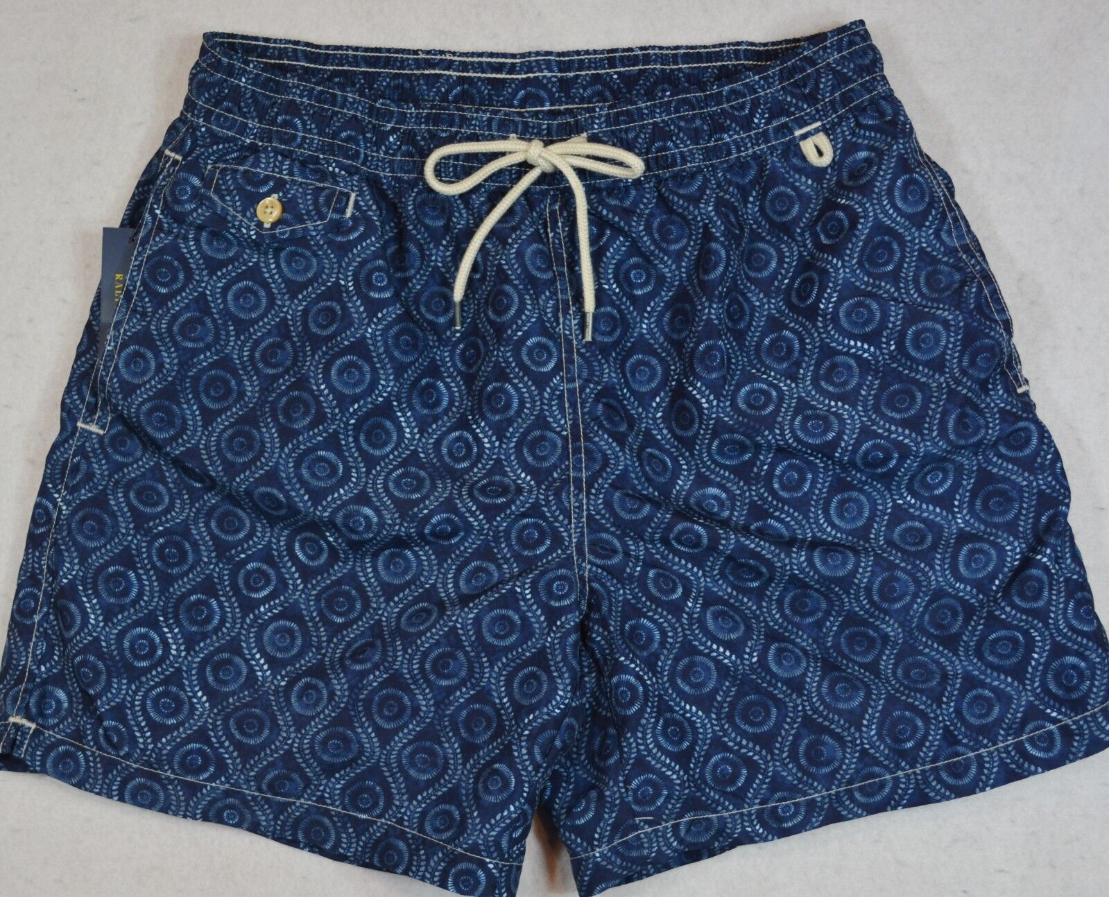 Polo Ralph Lauren Swim Trunks Briefs Shorts Navy Abstract Print S NWT