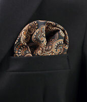 Floral Mocha Swirls Men's Suit Pocket Square Handkerchief Dress Hanky