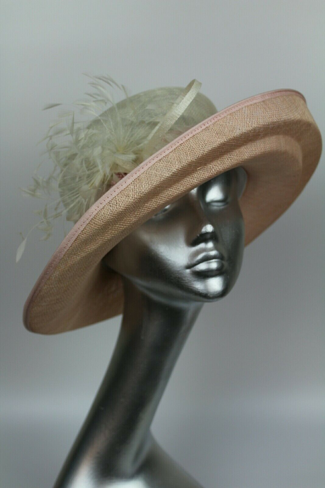 Ladies pink & ivory occasion hat . Ascot races wedding mother or the bride