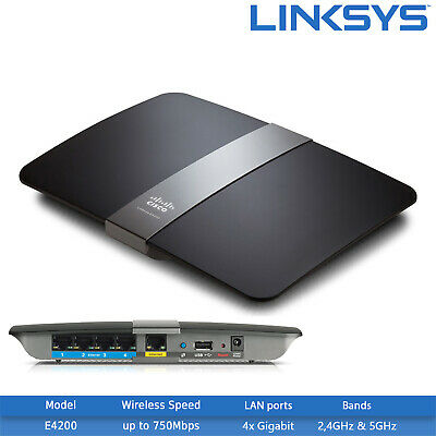 1x USB 2.0 2.4GHz 5GHz Refurbished Linksys EA3500 N750 Dual-Band Wi-Fi Router