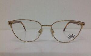 Luxottica-Occhiale-Da-Vista-Vintage-1988-Oro-luminosa-Metallo-Donna-Gatta
