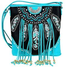 Montana West Embroidery Feather Fringe Collection Crossbody Handbag