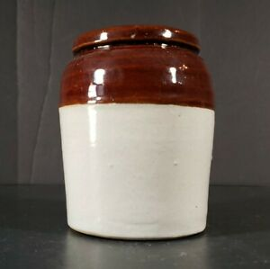 Vintage-Stoneware-Pottery-Crock-Brown-and-White-Primitive-3-75-034