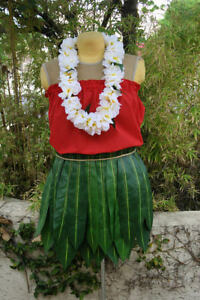 Image is loading Real-Hawaiian-Faux-Ti-Leaf-Skirt-Handmade-Stunning- & Real Hawaiian Faux Ti Leaf Skirt Handmade ~ Stunning Lilo Costume ...