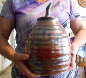 Kyle-Bonar-Studio-Art-Pottery-LG-Jar-Lid-Signed-Hand-Thrown-Pot-Bronze-Rust-Gold
