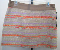Milly Of York Striped Style Polyester/ Silk Blend Skirt Size 8,nwt