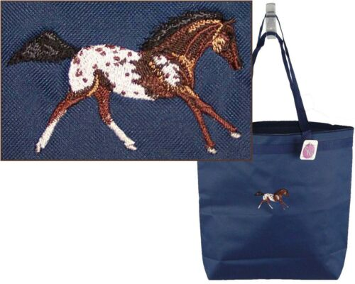 Bay Blanket Appaloosa Horse Monogram Bag Navy Large Zip Tote Equestrian Pet Gift