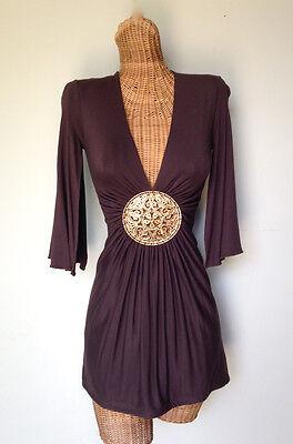 SKY BRAND Brown Stretch Knit Medallion V Neck Kimono Sexy Tunic Mini Dress XS 0